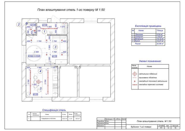 12. План влаштування стель 1-го поверху.