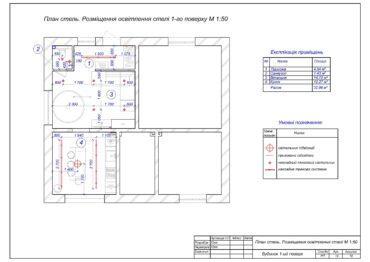 13. План стель. Розміщення освітлення стелі 1-го поверху.