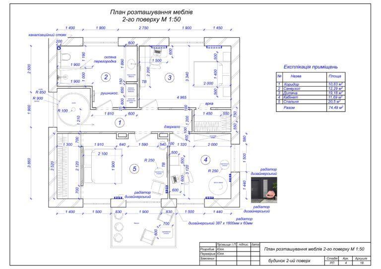5. План розташування меблів 2-го поверху.
