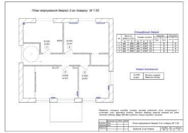 7. План маркування дверей і підвіконників 2-го поверху.