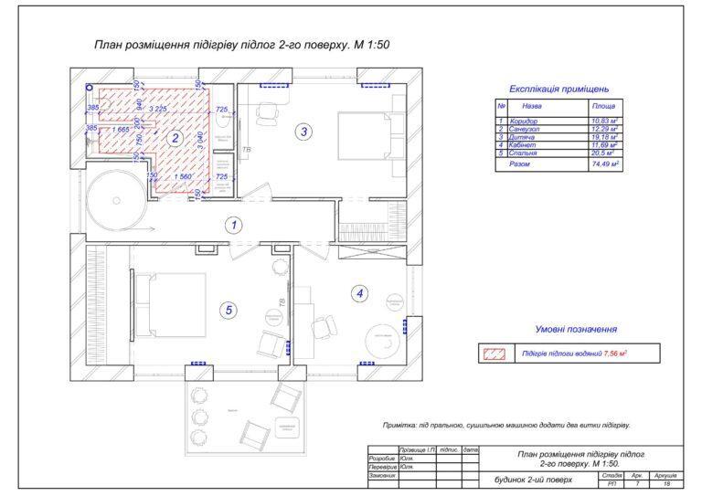 8. План розміщення підінріву підлог 2-го поверху.